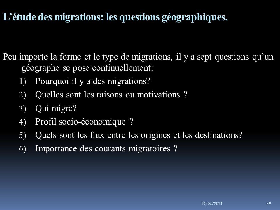 L'étude des migrations: les questions géographiques.