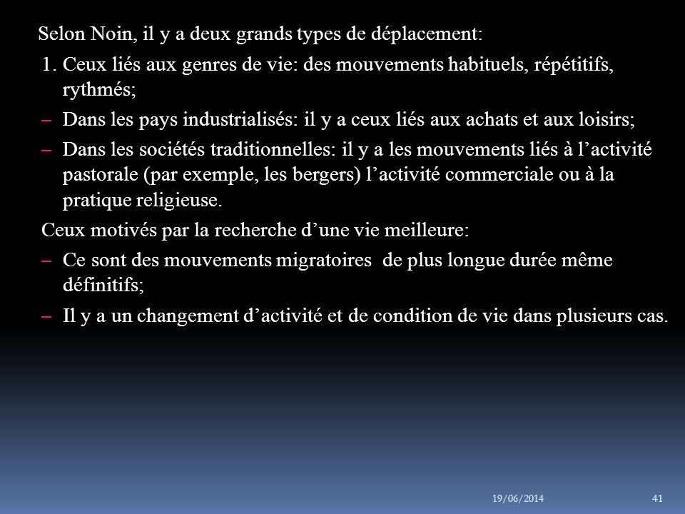 Selon Noin, il y a deux grands types de déplacement: