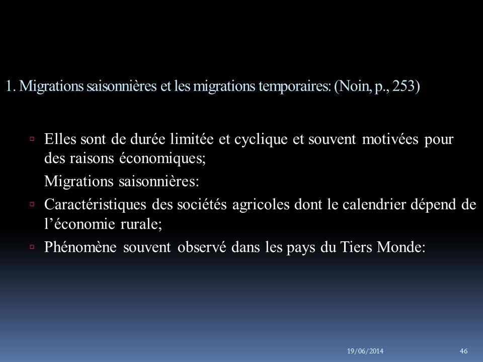 1. Migrations saisonnières et les migrations temporaires: (Noin, p