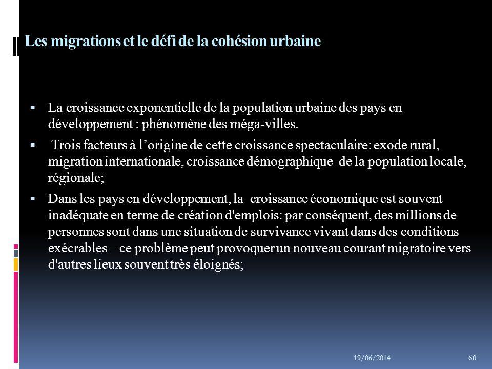 Les migrations et le défi de la cohésion urbaine