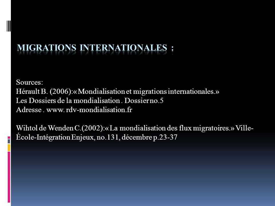 Migrations internationales :