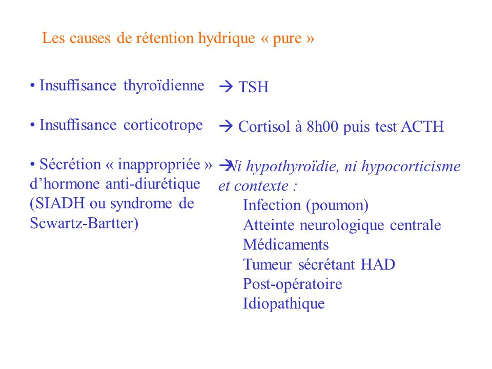 Les causes de rétention hydrique « pure »