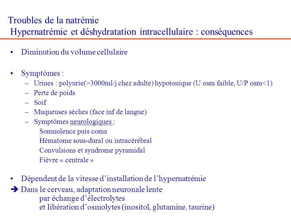 Troubles de la natrémie Hypernatrémie et déshydratation intracellulaire : conséquences