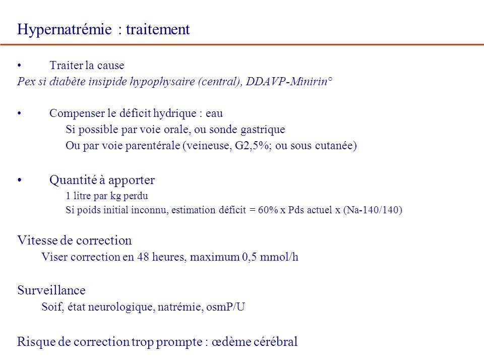 Hypernatrémie : traitement