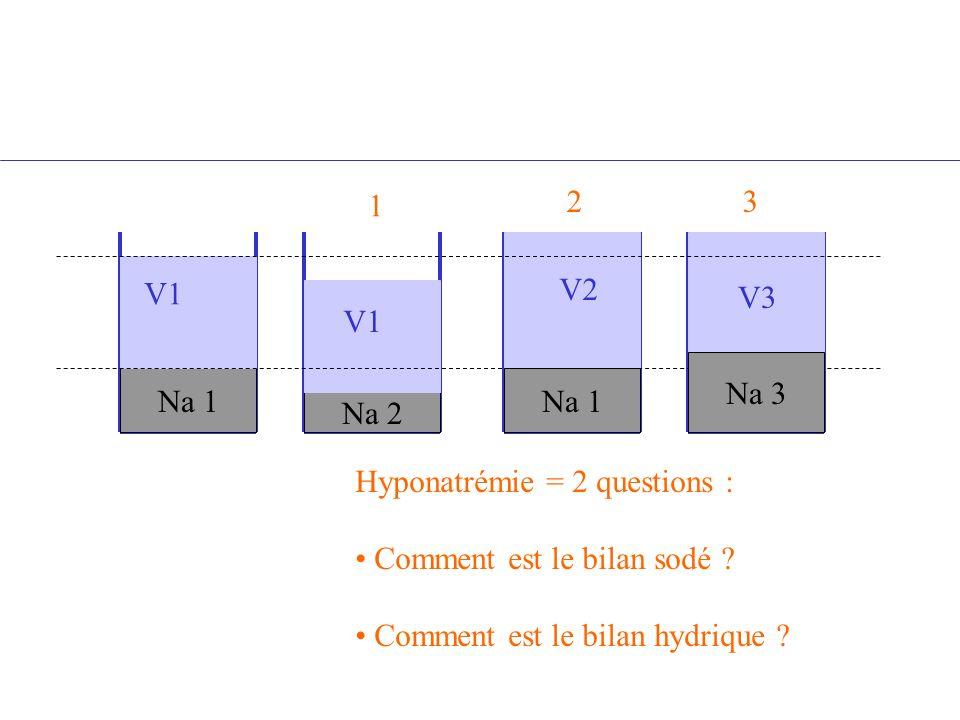 1 2. 3. V1. V2. V3. V1. Na 3. Na 1. Na 1. Na 2. Hyponatrémie = 2 questions : Comment est le bilan sodé