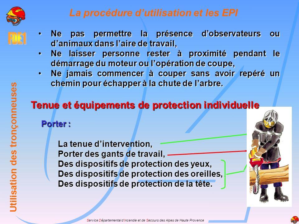 La procédure d'utilisation et les EPI