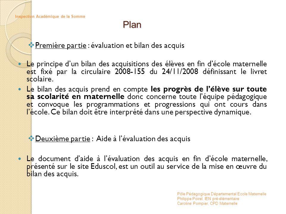 Plan Première partie : évaluation et bilan des acquis