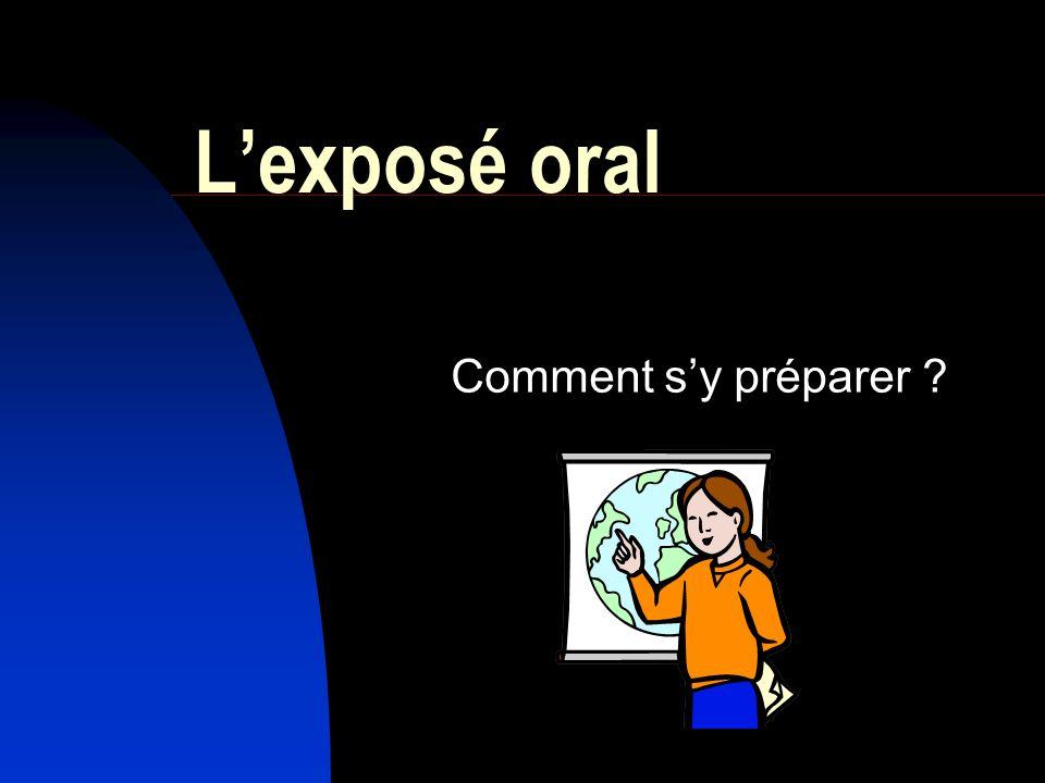 L'exposé oral Comment s'y préparer