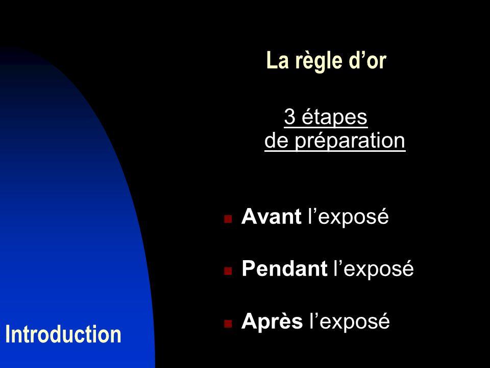 La règle d'or Introduction 3 étapes de préparation Avant l'exposé