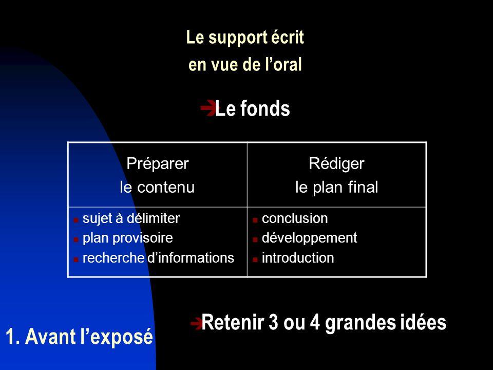 Le fonds 1. Avant l'exposé Le support écrit en vue de l'oral Préparer