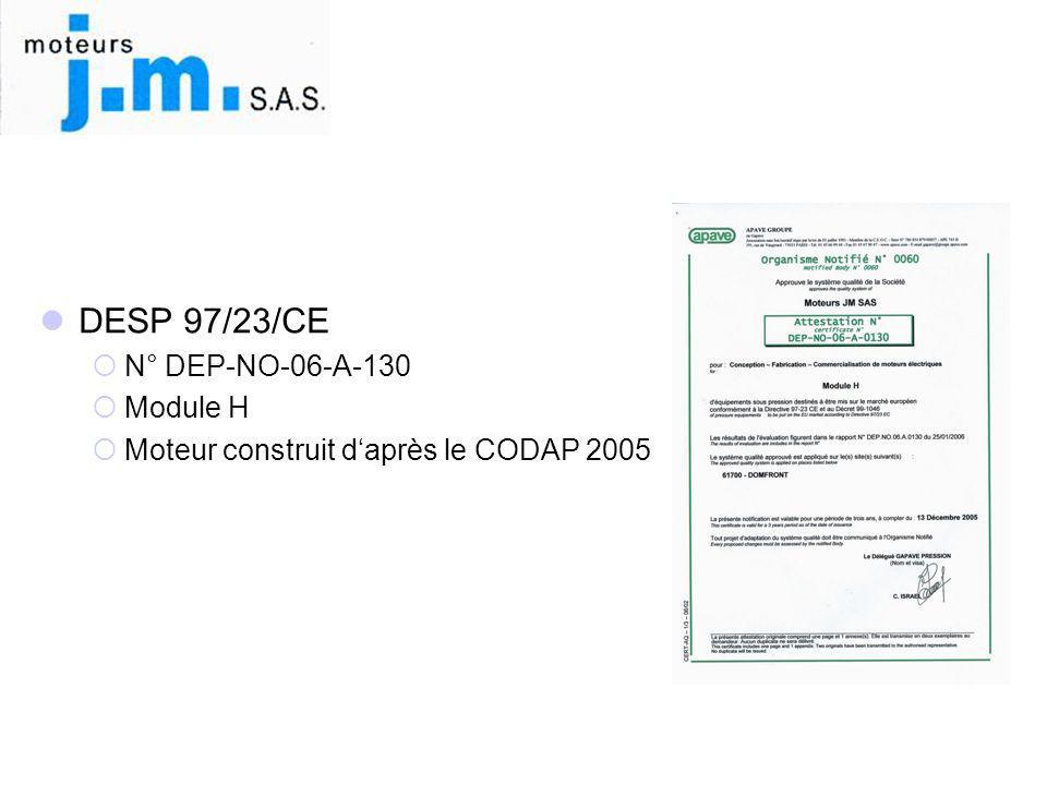 DESP 97/23/CE N° DEP-NO-06-A-130 Module H