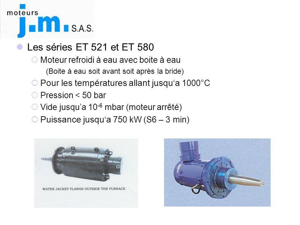 Les séries ET 521 et ET 580 Moteur refroidi à eau avec boite à eau. (Boite à eau soit avant soit après la bride)