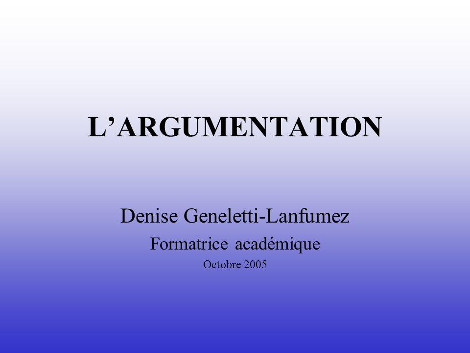 Denise Geneletti-Lanfumez Formatrice académique Octobre 2005
