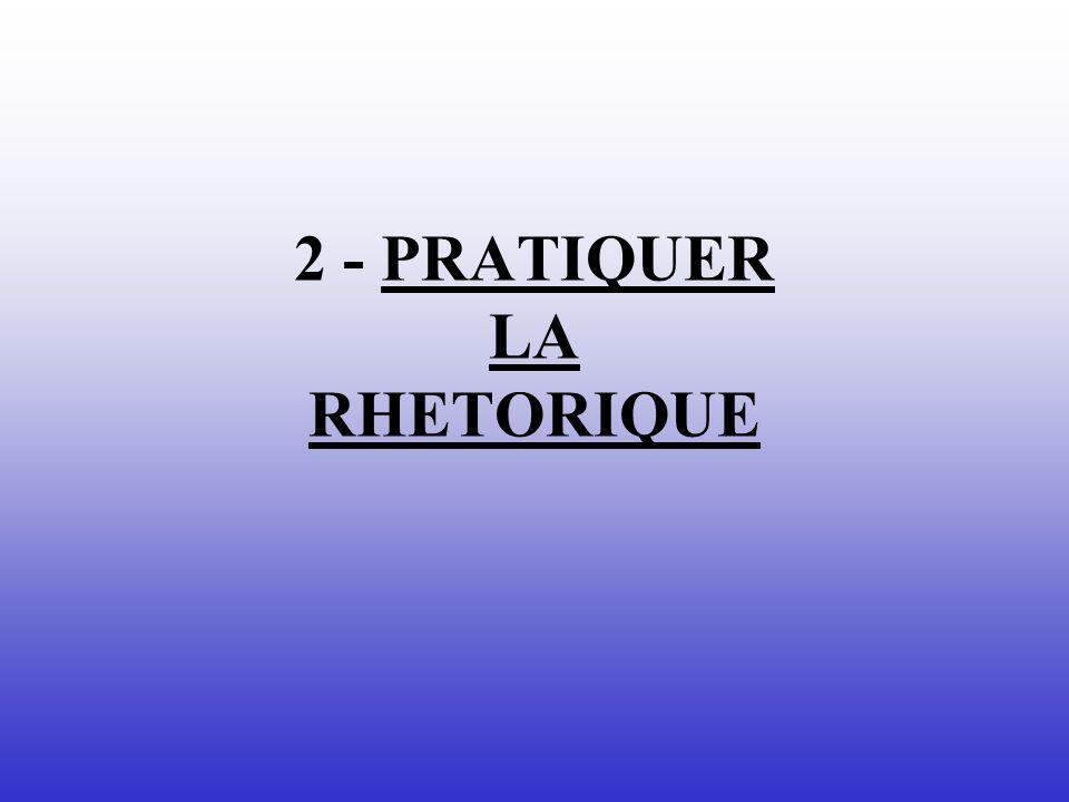 2 - PRATIQUER LA RHETORIQUE