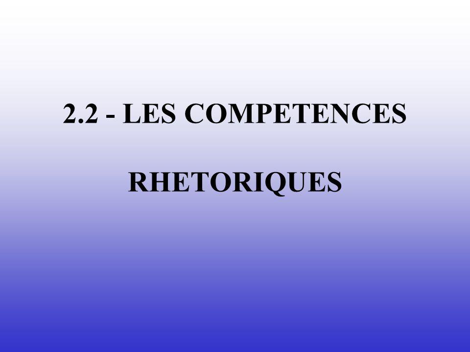 2.2 - LES COMPETENCES RHETORIQUES