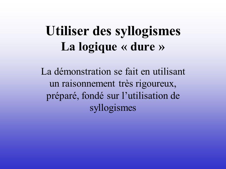 Utiliser des syllogismes La logique « dure »