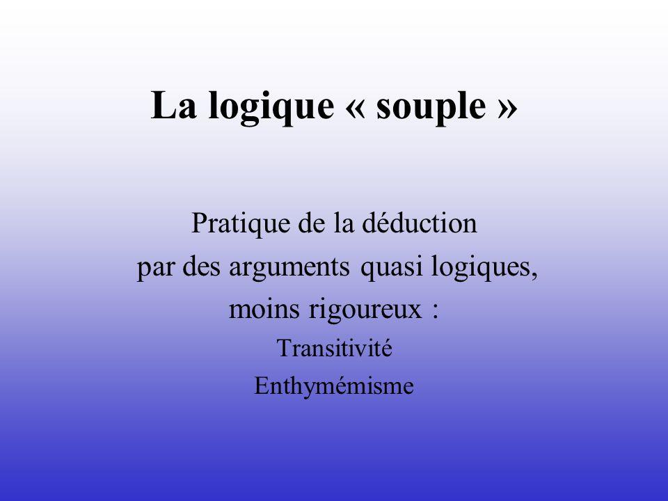 La logique « souple » Pratique de la déduction