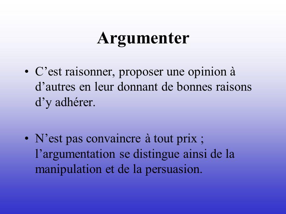 ArgumenterC'est raisonner, proposer une opinion à d'autres en leur donnant de bonnes raisons d'y adhérer.