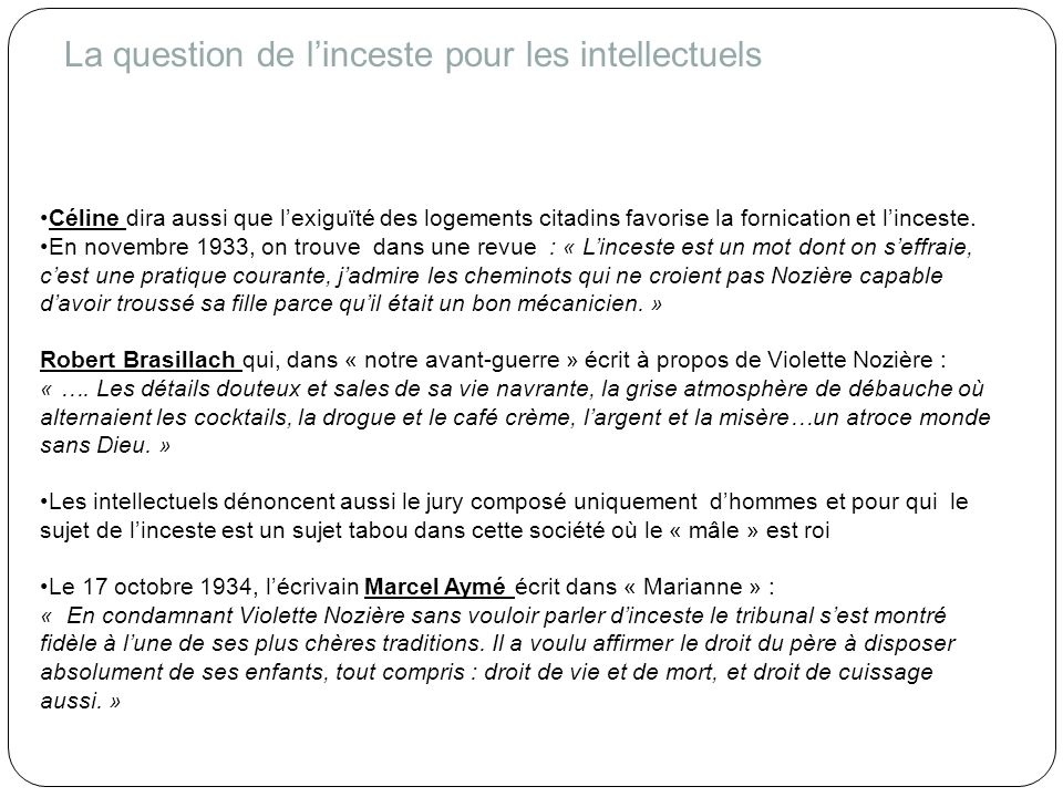 La question de l'inceste pour les intellectuels