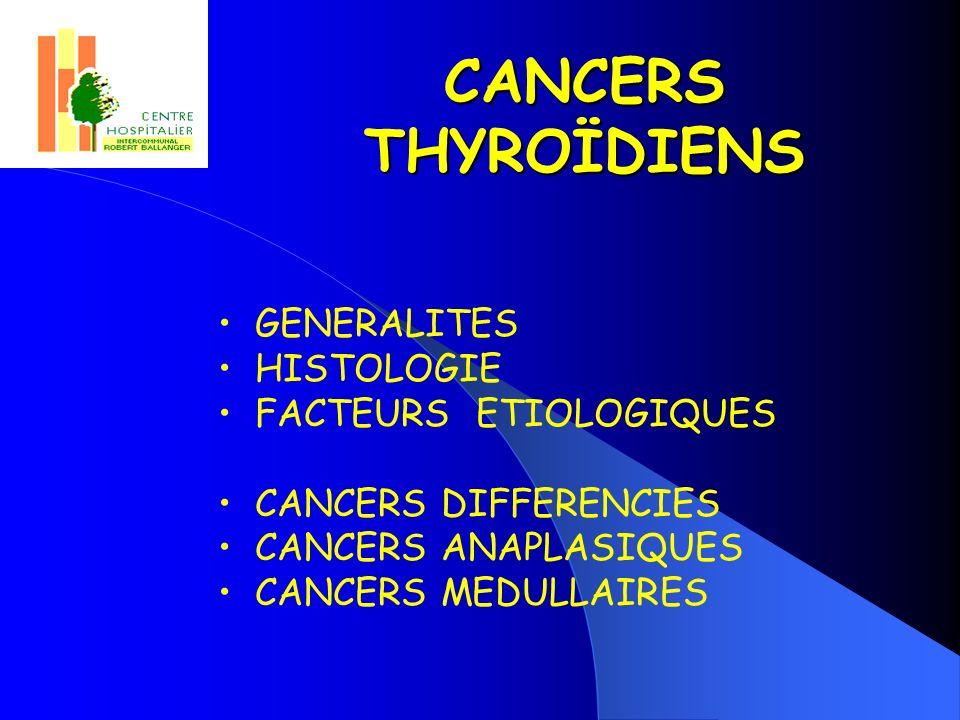 CANCERS THYROÏDIENS GENERALITES HISTOLOGIE FACTEURS ETIOLOGIQUES