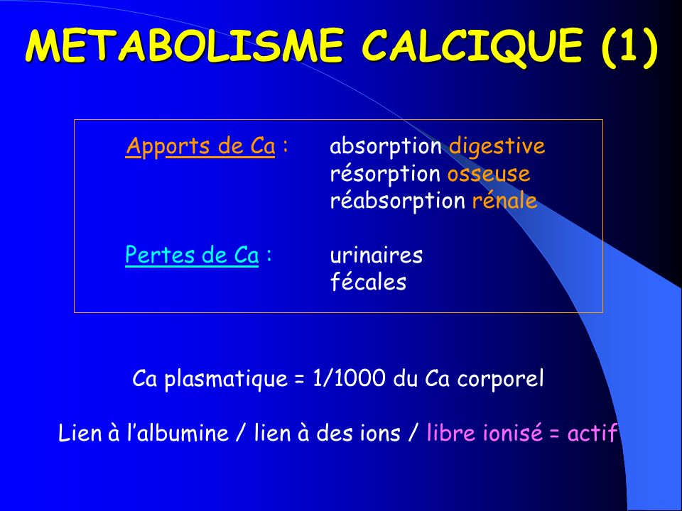 METABOLISME CALCIQUE (1)