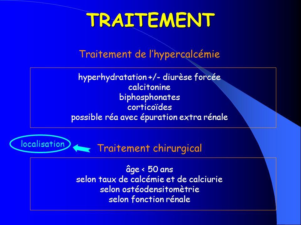 TRAITEMENT Traitement de l'hypercalcémie Traitement chirurgical
