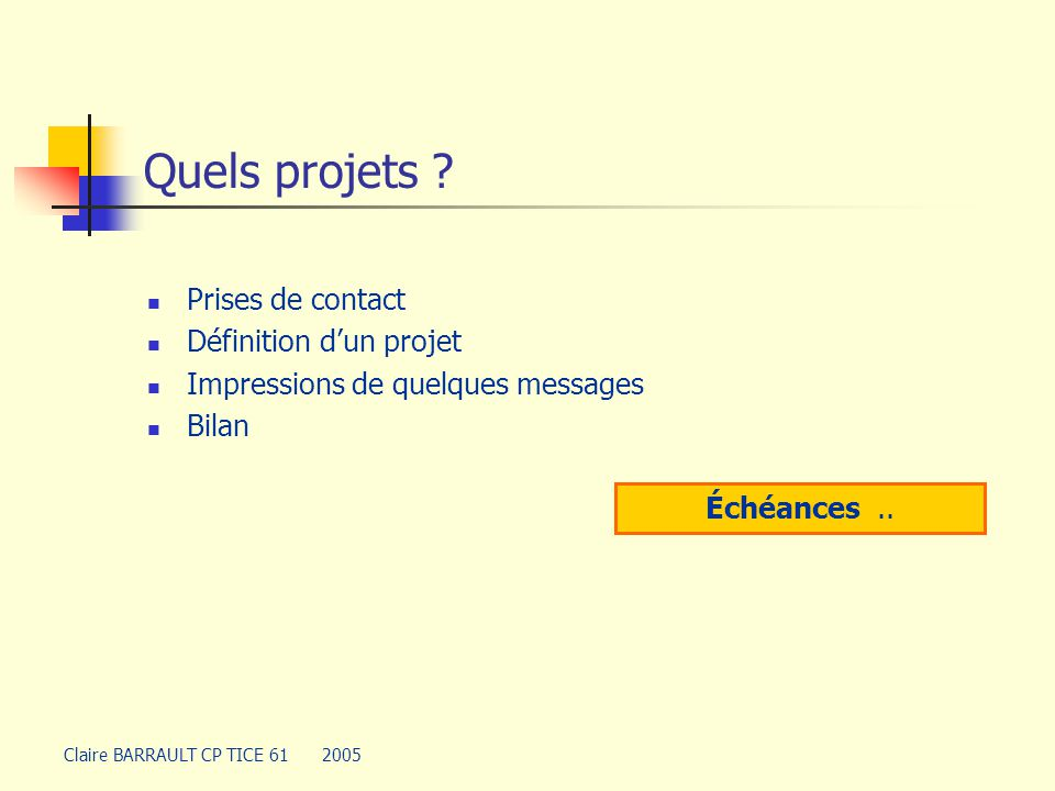 Quels projets Prises de contact Définition d'un projet