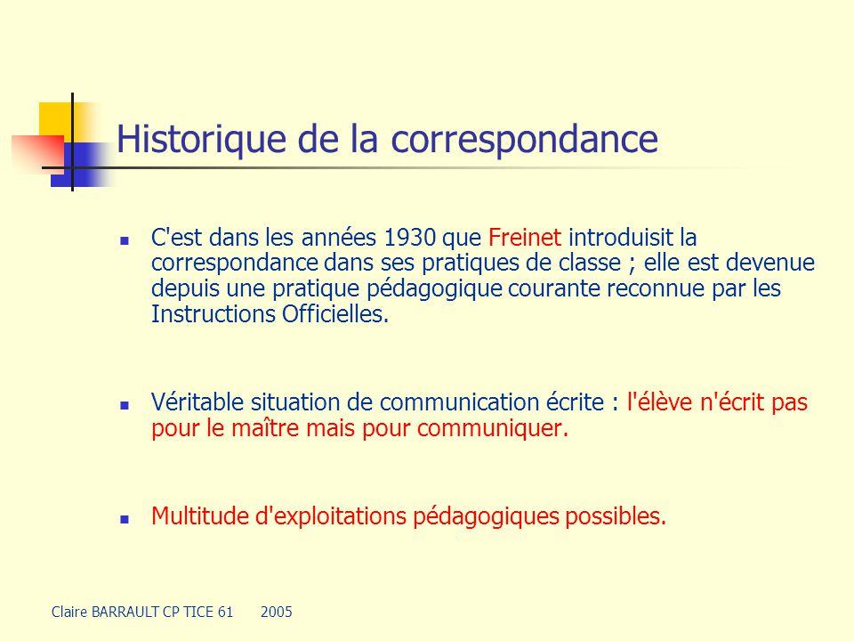 Historique de la correspondance