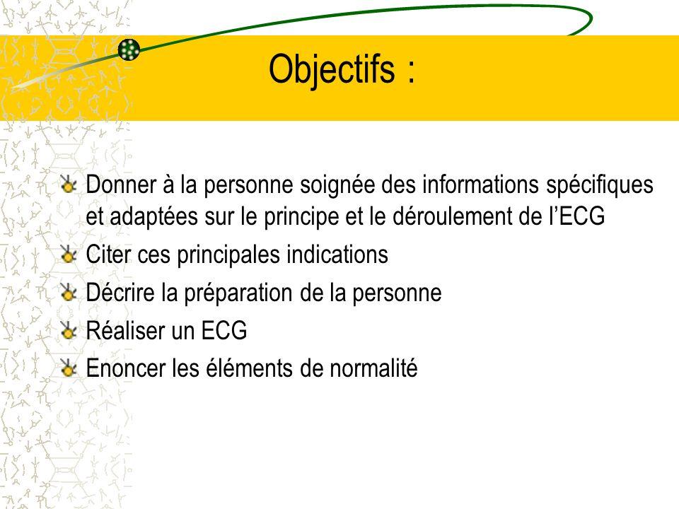 Objectifs : Donner à la personne soignée des informations spécifiques et adaptées sur le principe et le déroulement de l'ECG.