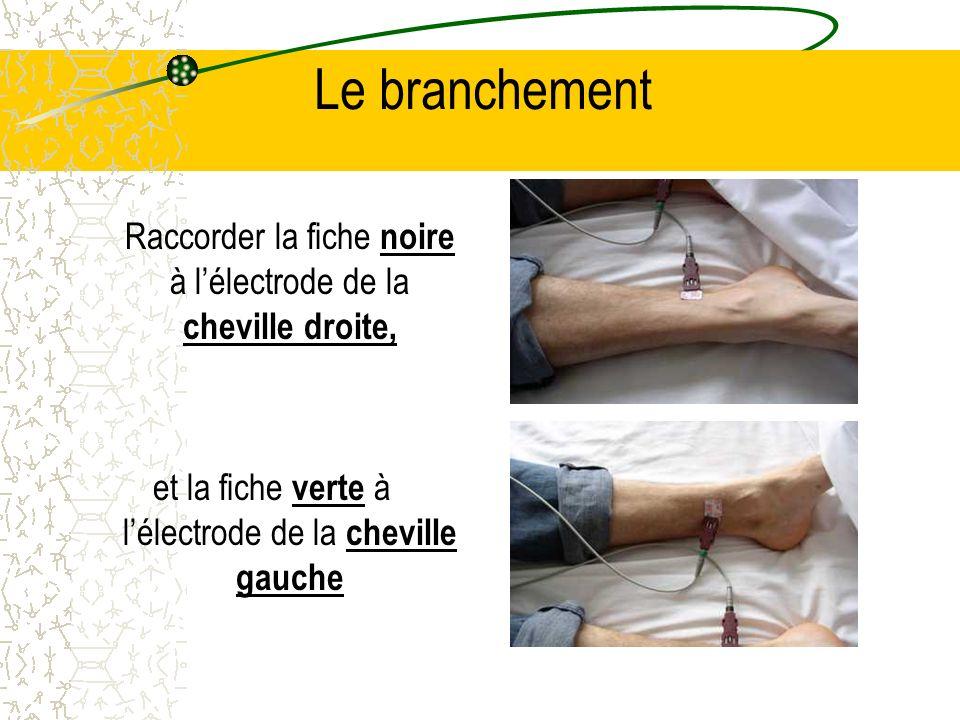 Le branchement Raccorder la fiche noire à l'électrode de la cheville droite, et la fiche verte à l'électrode de la cheville gauche.