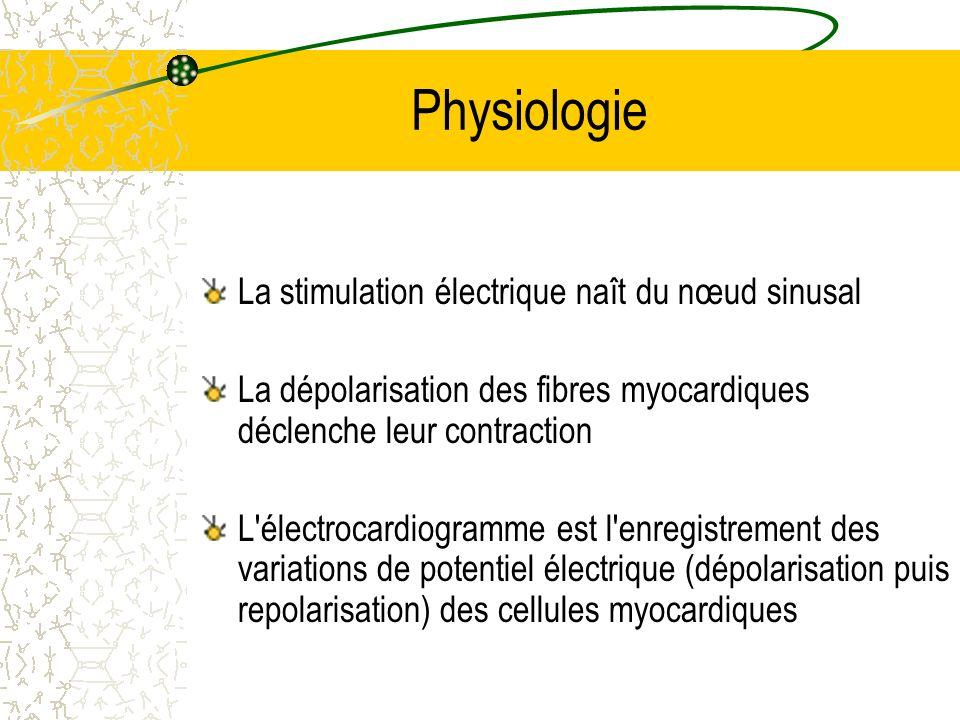 Physiologie La stimulation électrique naît du nœud sinusal