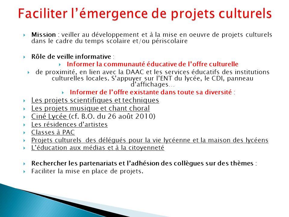 Faciliter l'émergence de projets culturels
