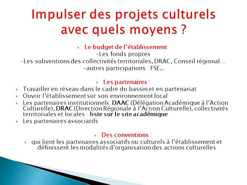 Impulser des projets culturels avec quels moyens