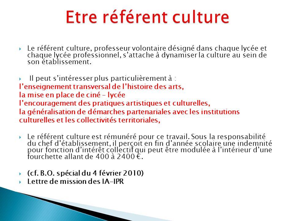 Etre référent culture