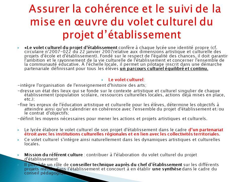 Assurer la cohérence et le suivi de la mise en œuvre du volet culturel du projet d'établissement