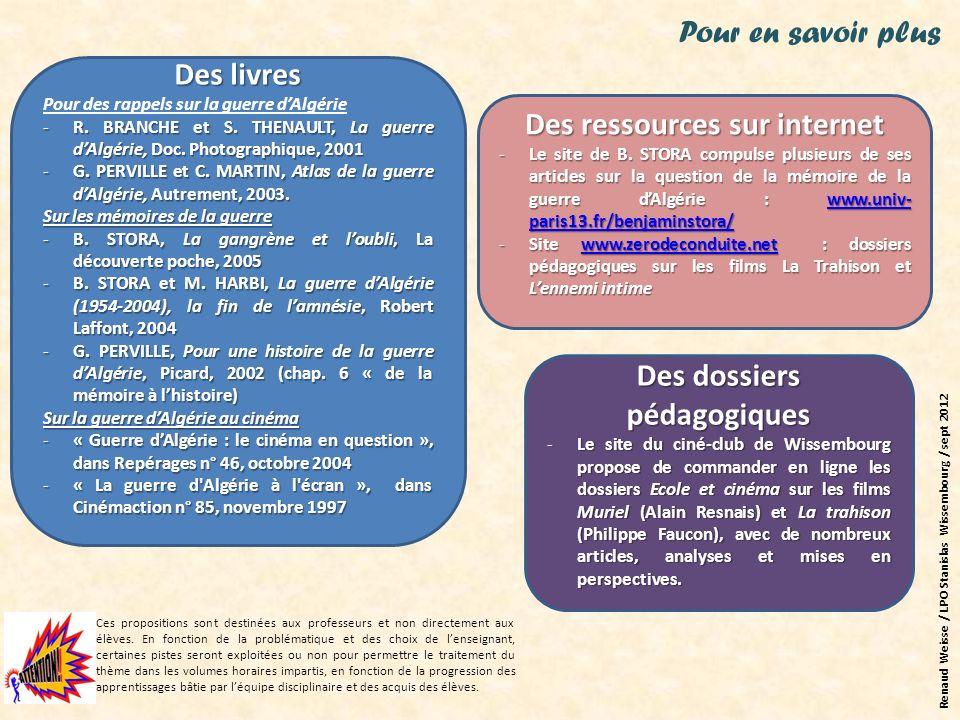 Des ressources sur internet Des dossiers pédagogiques