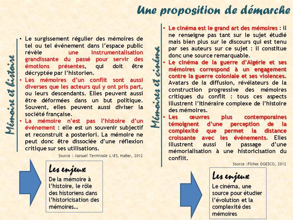 Mémoires et cinéma Mémoire et histoire Une proposition de démarche