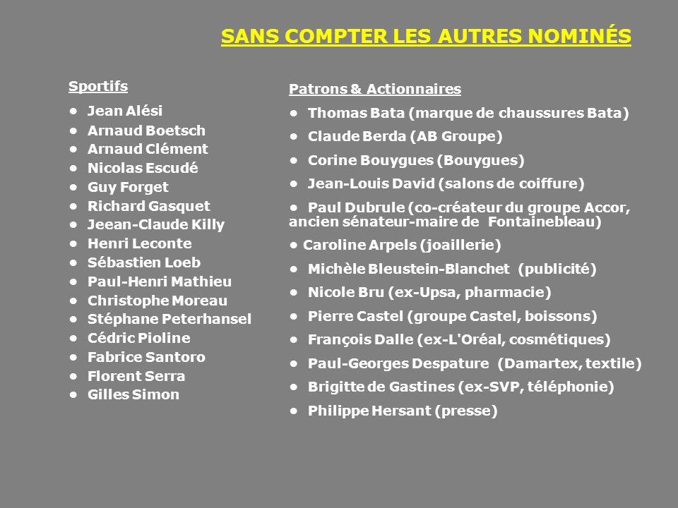 SANS COMPTER LES AUTRES NOMINÉS