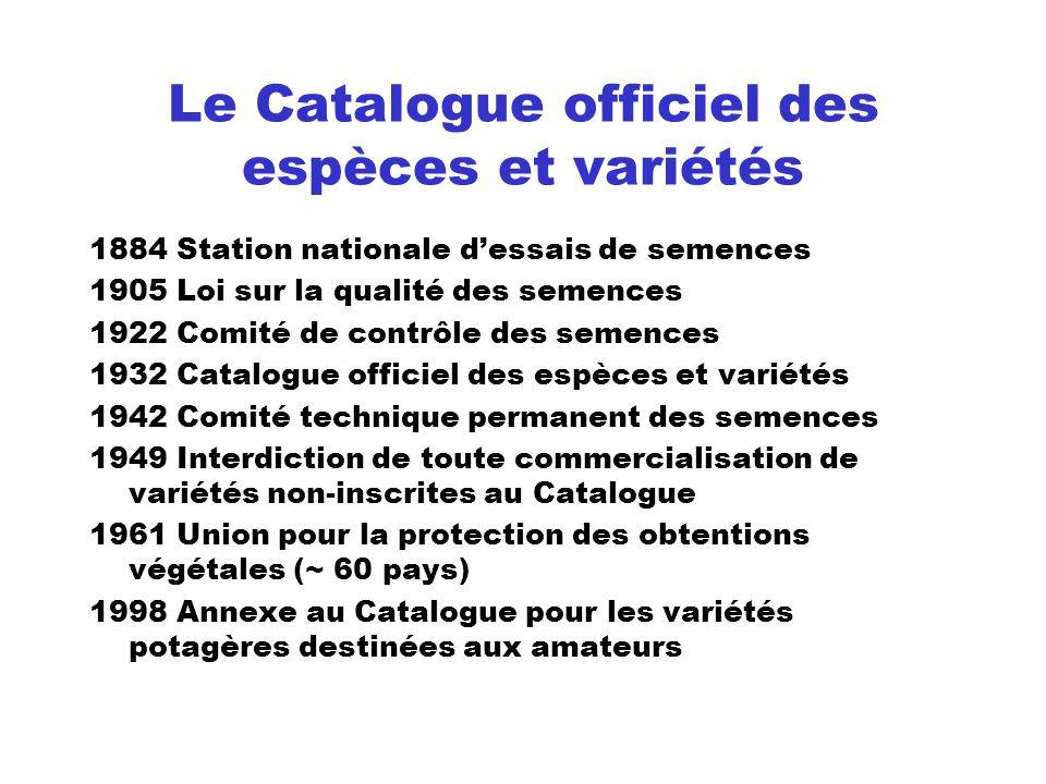 Le Catalogue officiel des espèces et variétés