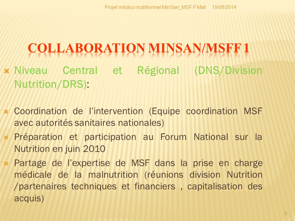 COLLABORATION MINSAN/MSFF 1