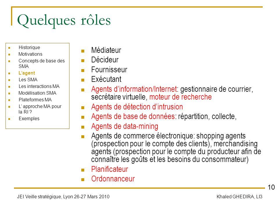 Quelques rôles Médiateur Décideur Fournisseur Exécutant