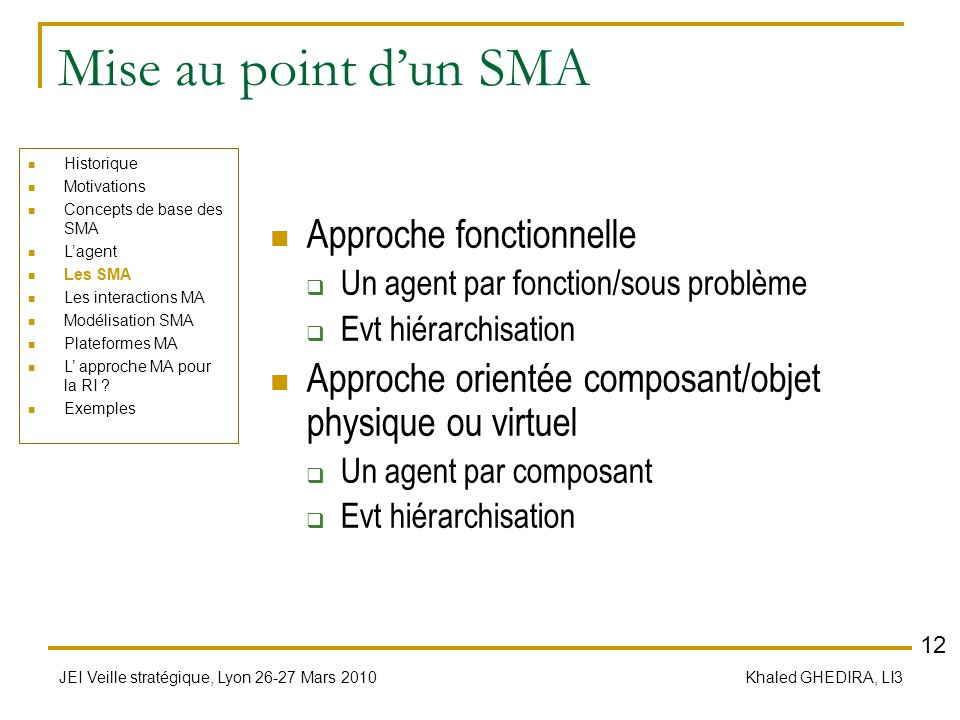 Mise au point d'un SMA Approche fonctionnelle