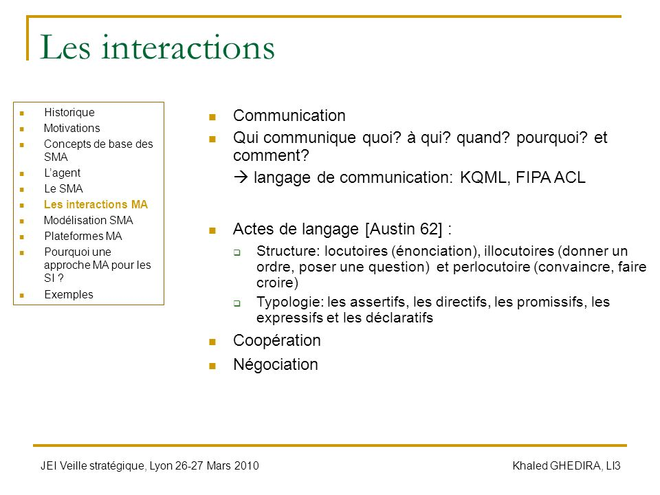 Les interactions Communication