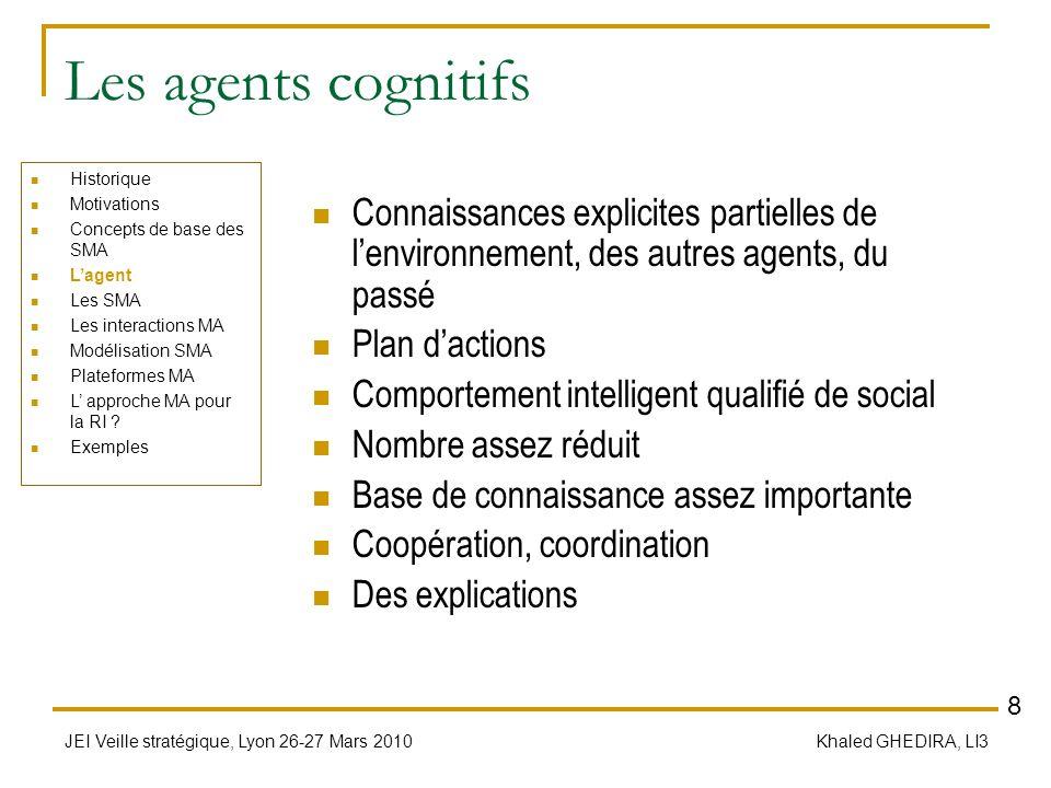 Les agents cognitifs Historique. Motivations. Concepts de base des SMA. L'agent. Les SMA. Les interactions MA.