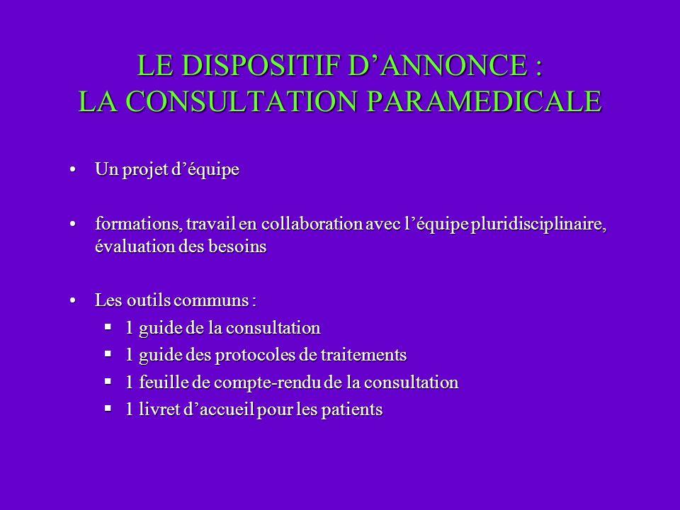 LE DISPOSITIF D'ANNONCE : LA CONSULTATION PARAMEDICALE