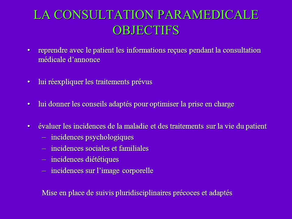 LA CONSULTATION PARAMEDICALE OBJECTIFS