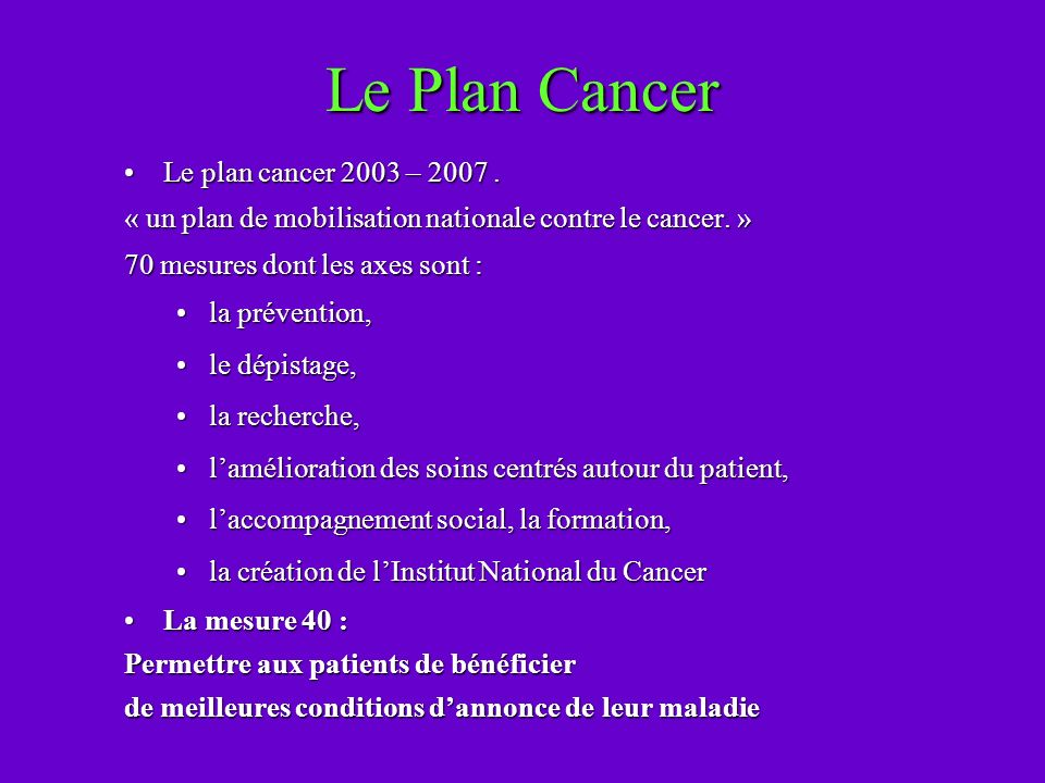 Le Plan Cancer Le plan cancer 2003 – 2007 .