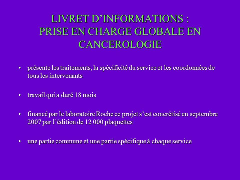 LIVRET D'INFORMATIONS : PRISE EN CHARGE GLOBALE EN CANCEROLOGIE