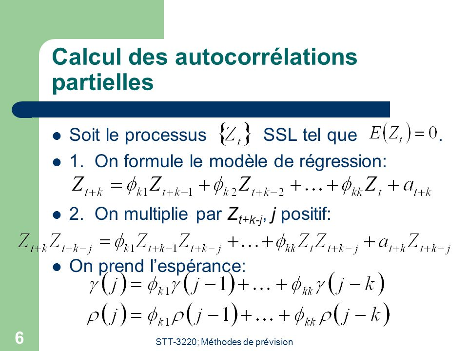 Calcul des autocorrélations partielles