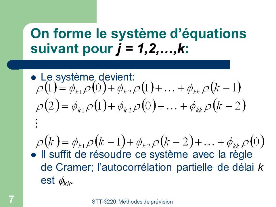 On forme le système d'équations suivant pour j = 1,2,…,k: